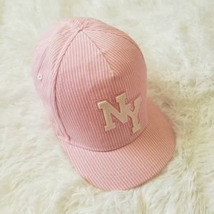 H&M Pink and White Striped NY Cap